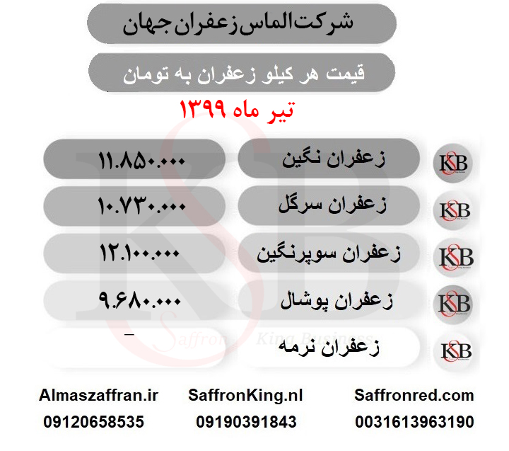 قیمت هر کیلو زعفران اعلا در بازار مشهد