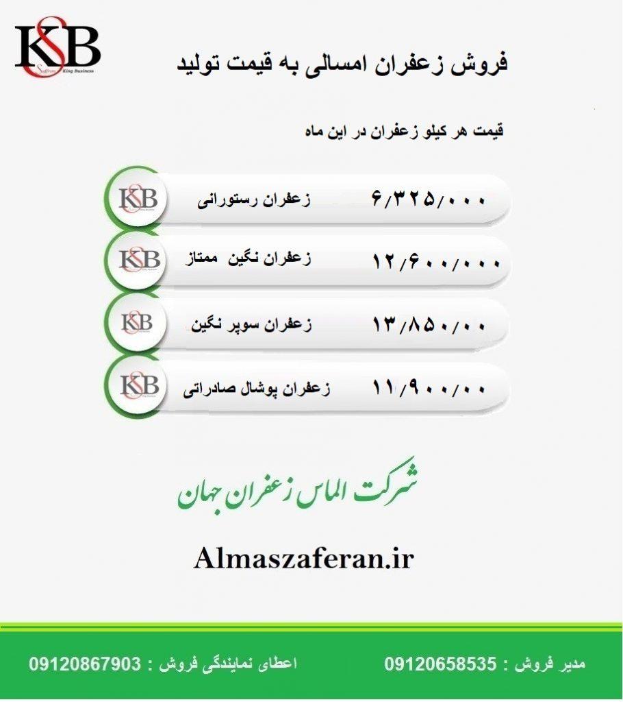 قیمت روز هر کیلو زعفران در مشهد