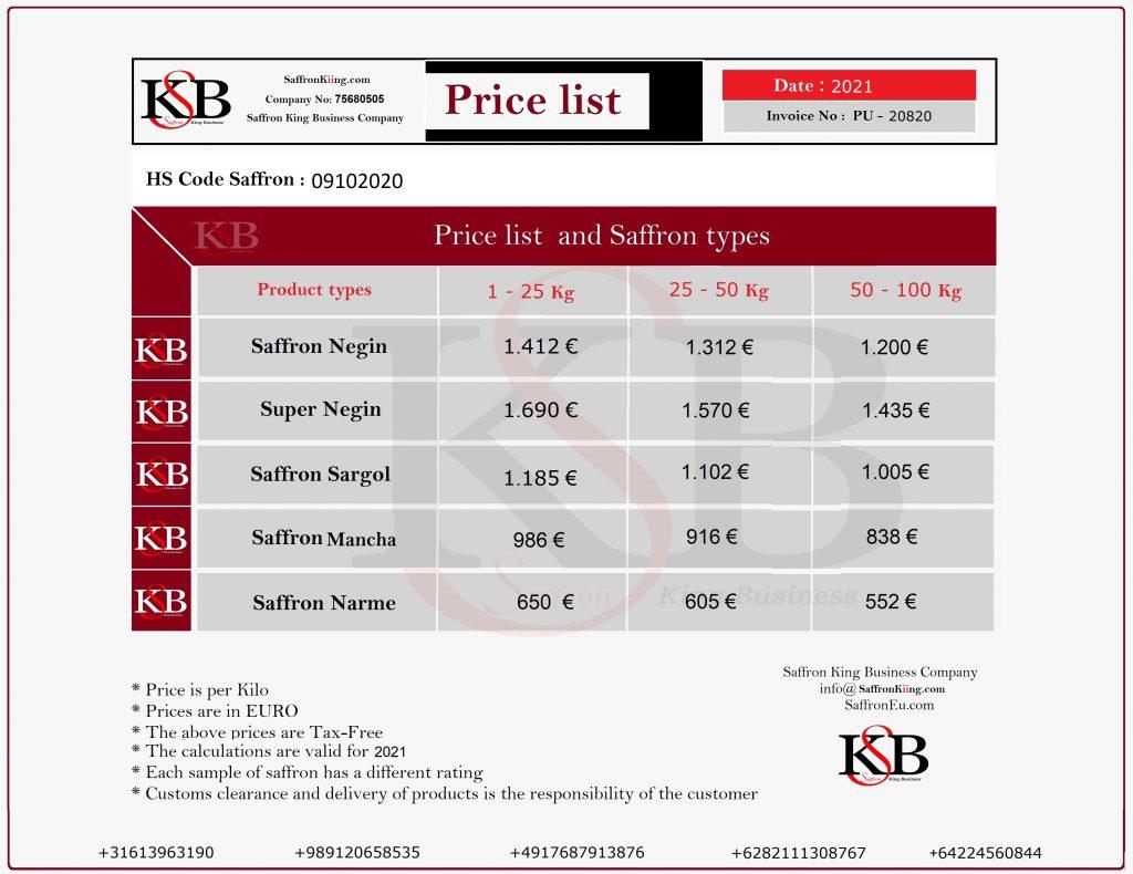 لیست قیمت هر کیلو زعفران به یورو